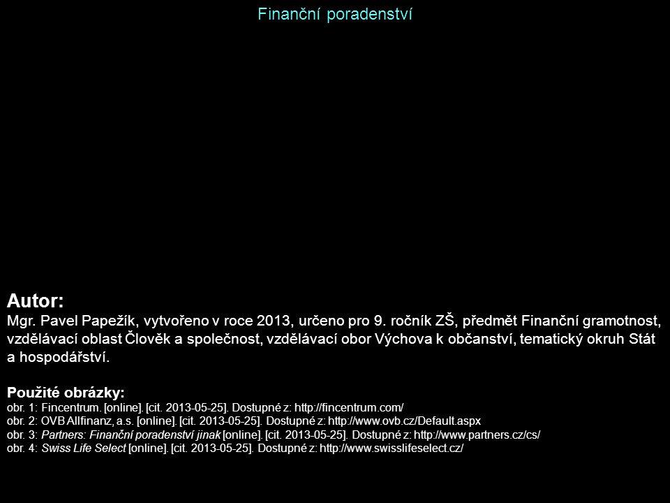 Autor: Finanční poradenství