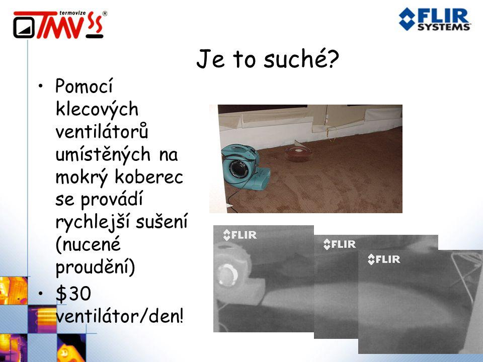 Je to suché Pomocí klecových ventilátorů umístěných na mokrý koberec se provádí rychlejší sušení (nucené proudění)