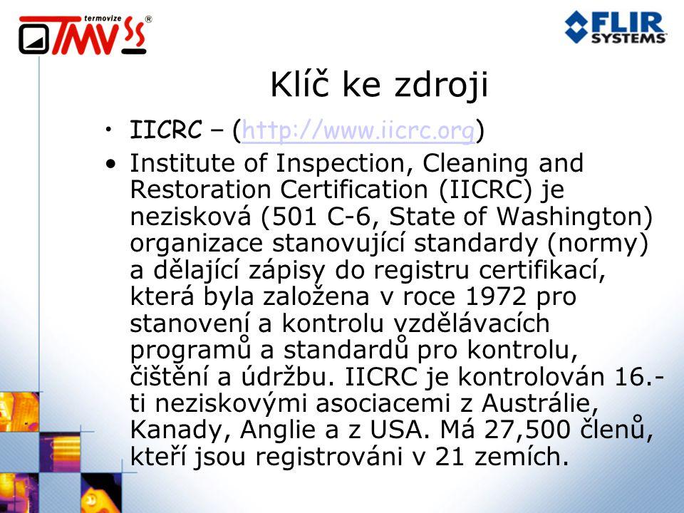 Klíč ke zdroji IICRC – (http://www.iicrc.org)