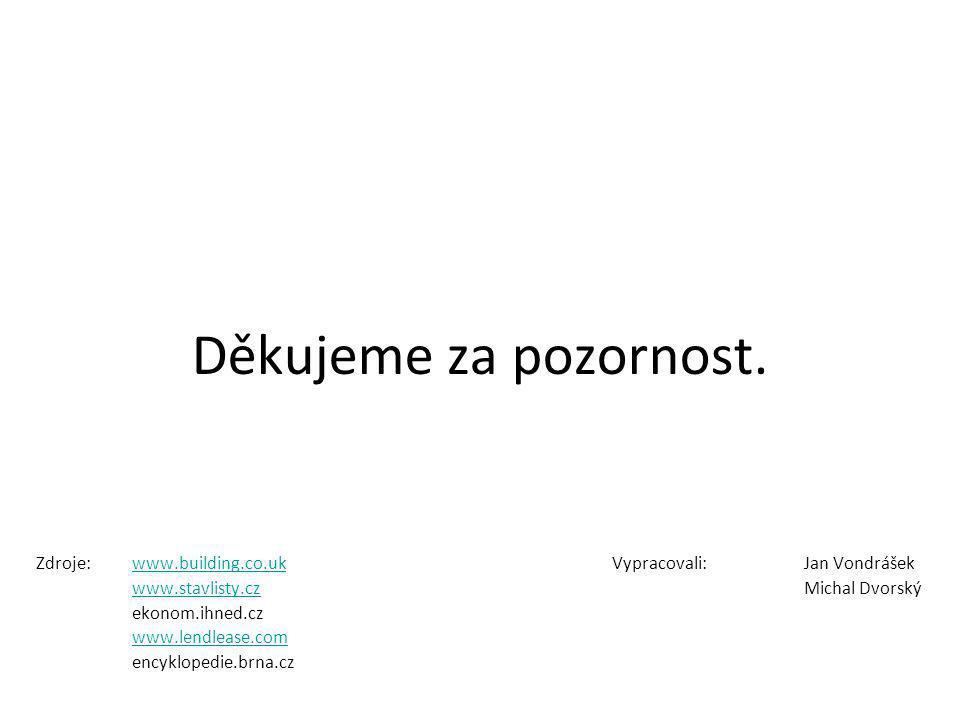 Děkujeme za pozornost. Zdroje: www.building.co.uk Vypracovali: Jan Vondrášek. www.stavlisty.cz Michal Dvorský.