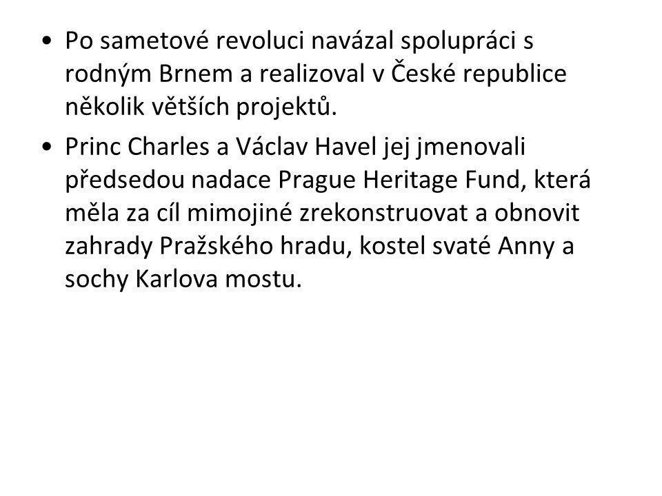 Po sametové revoluci navázal spolupráci s rodným Brnem a realizoval v České republice několik větších projektů.