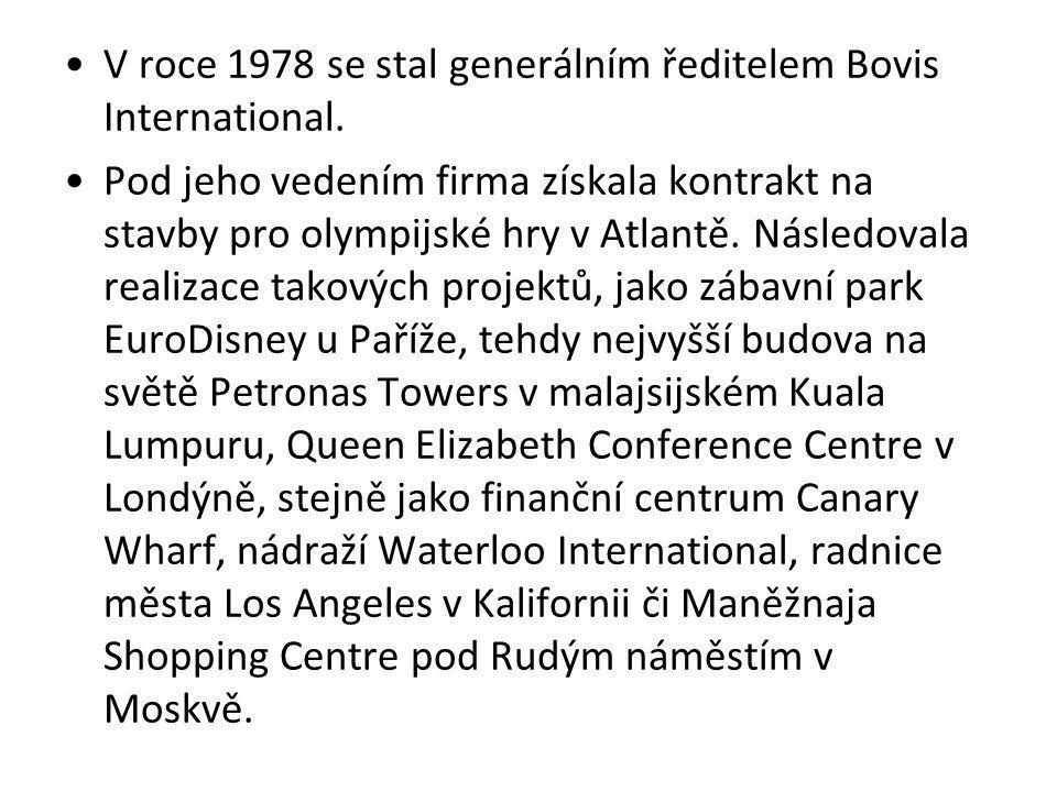 V roce 1978 se stal generálním ředitelem Bovis International.