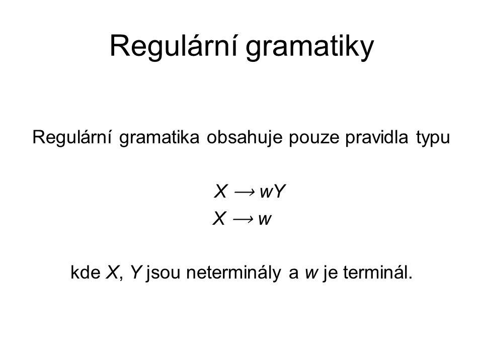 Regulární gramatiky Regulární gramatika obsahuje pouze pravidla typu X ⟶ wY X ⟶ w kde X, Y jsou neterminály a w je terminál.
