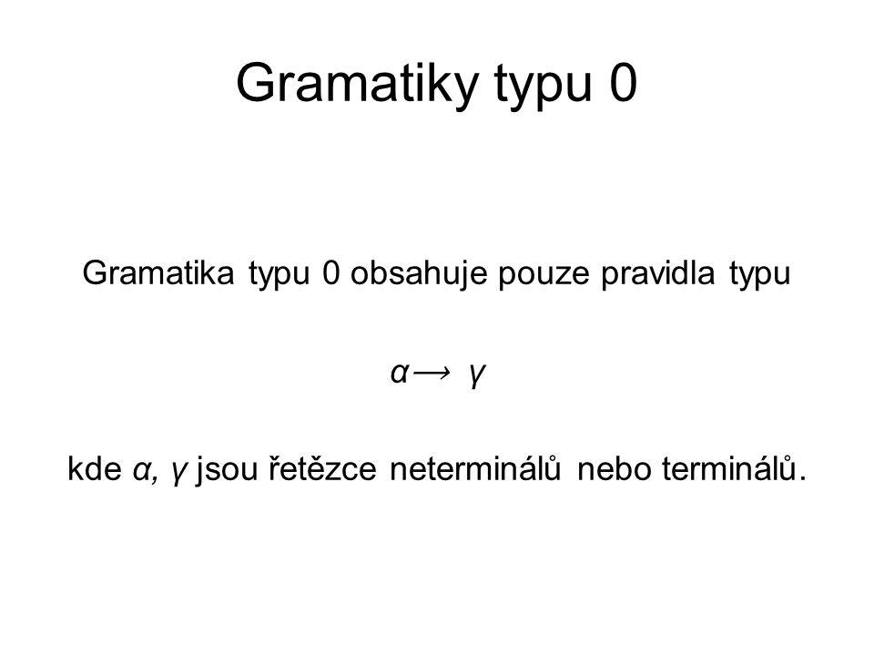 Gramatiky typu 0 Gramatika typu 0 obsahuje pouze pravidla typu α⟶ γ kde α, γ jsou řetězce neterminálů nebo terminálů.