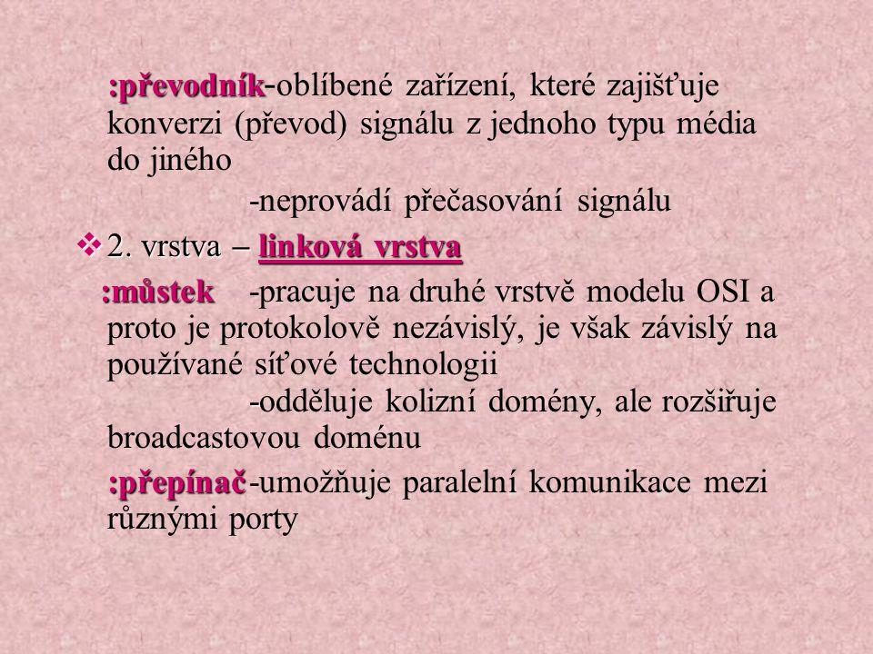 :převodník-oblíbené zařízení, které zajišťuje konverzi (převod) signálu z jednoho typu média do jiného -neprovádí přečasování signálu
