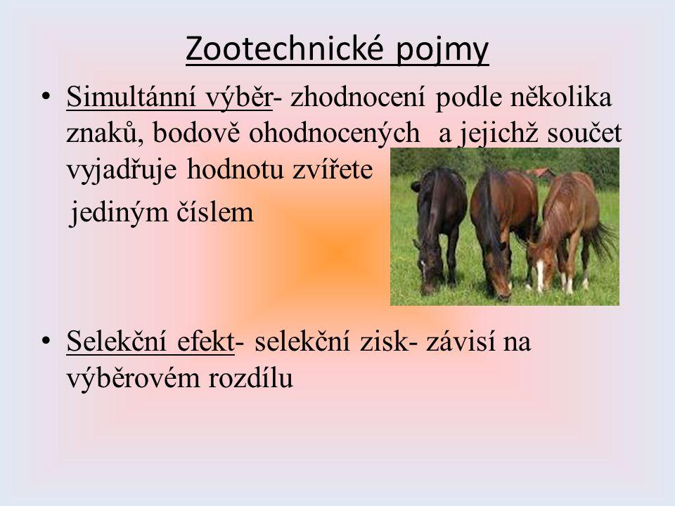 Zootechnické pojmy Simultánní výběr- zhodnocení podle několika znaků, bodově ohodnocených a jejichž součet vyjadřuje hodnotu zvířete.