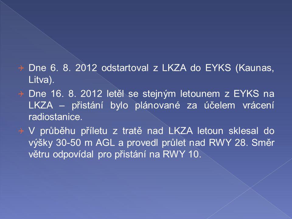 Dne 6. 8. 2012 odstartoval z LKZA do EYKS (Kaunas, Litva).