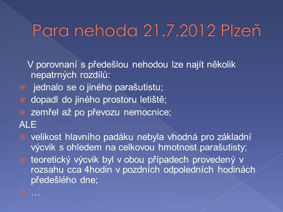 Para nehoda 21.7.2012 Plzeň jednalo se o jiného parašutistu;
