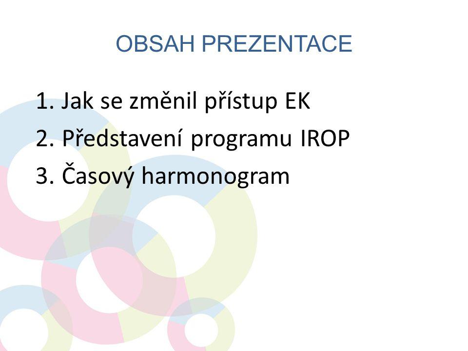 Jak se změnil přístup EK Představení programu IROP Časový harmonogram