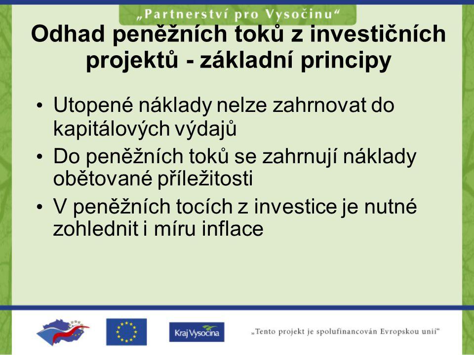 Odhad peněžních toků z investičních projektů - základní principy