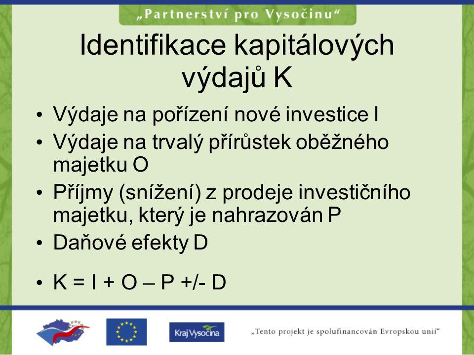 Identifikace kapitálových výdajů K