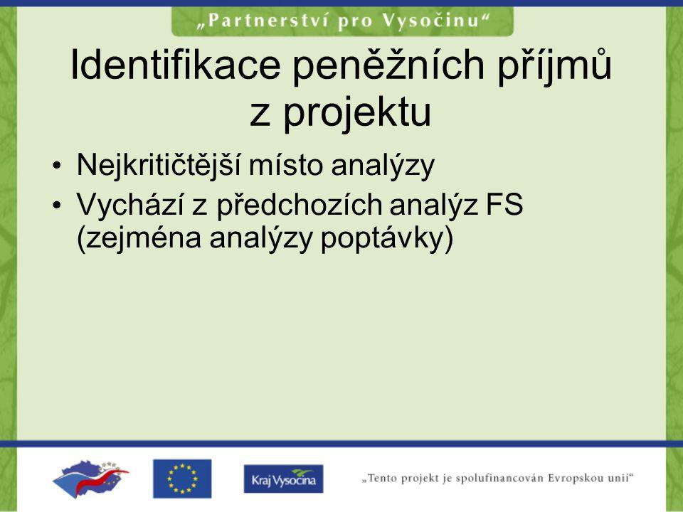 Identifikace peněžních příjmů z projektu