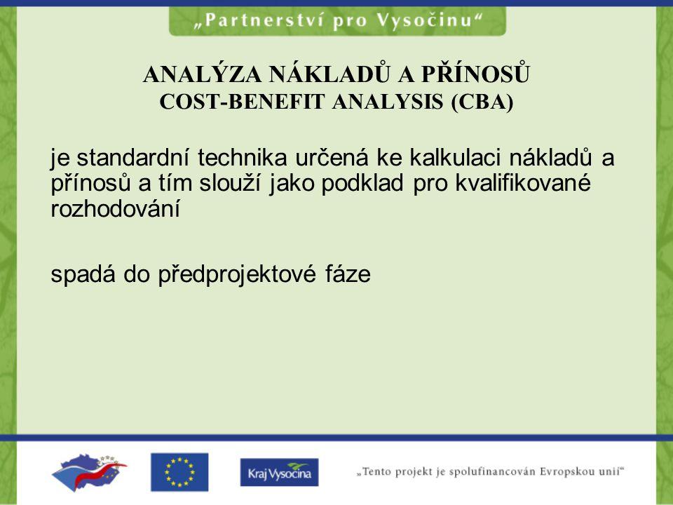 ANALÝZA NÁKLADŮ A PŘÍNOSŮ COST-BENEFIT ANALYSIS (CBA)