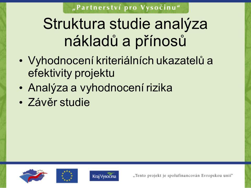 Struktura studie analýza nákladů a přínosů