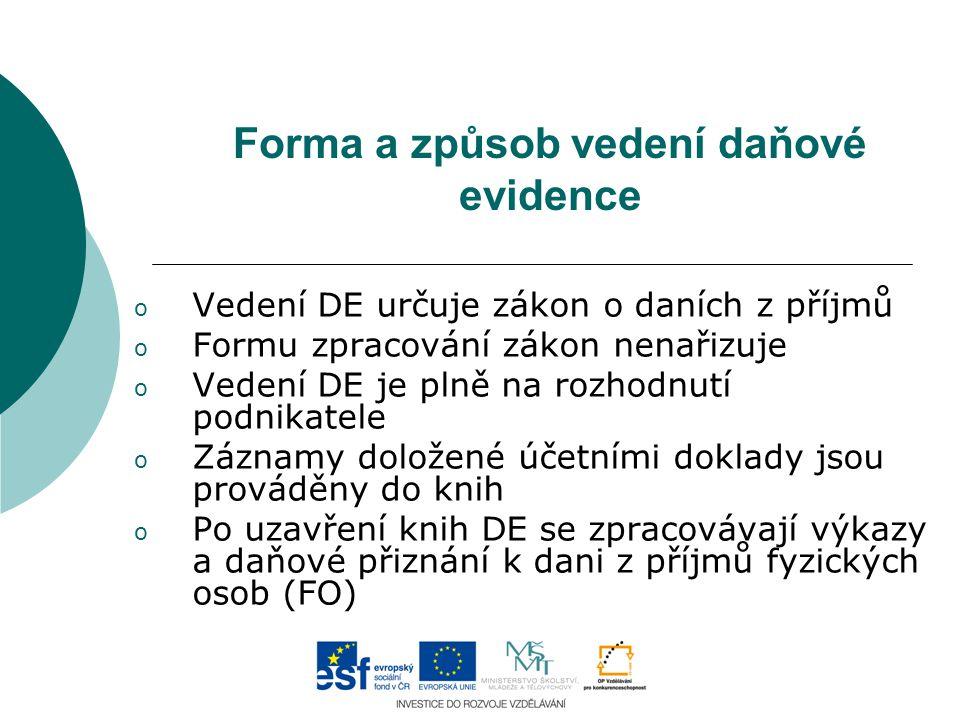 Forma a způsob vedení daňové evidence