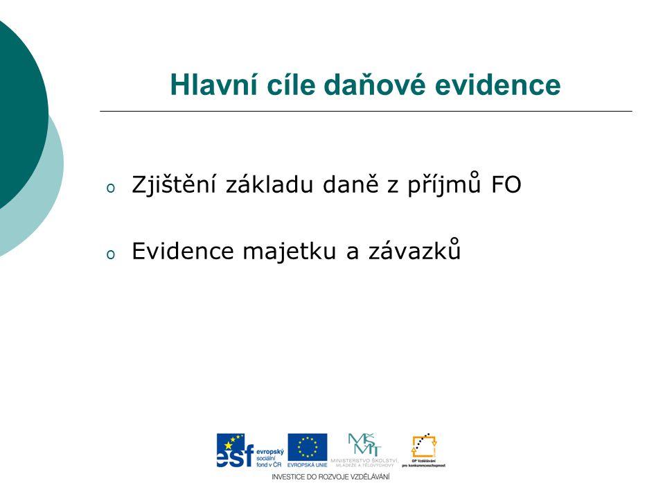 Hlavní cíle daňové evidence