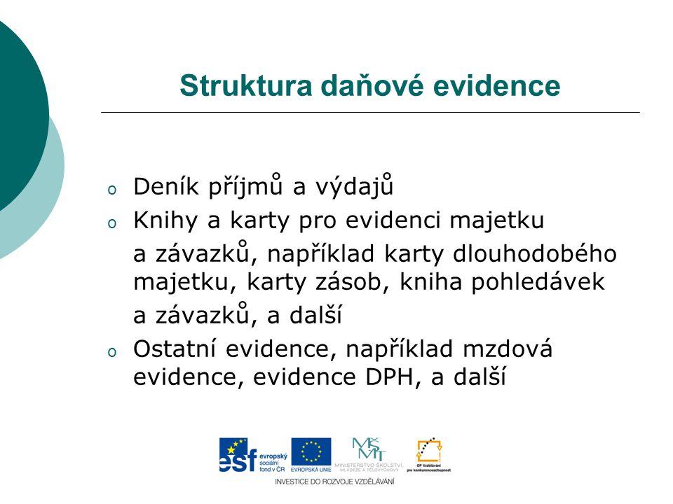 Struktura daňové evidence