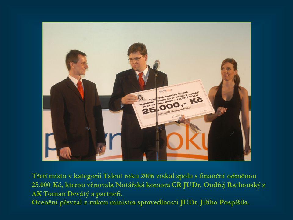 Třetí místo v kategorii Talent roku 2006 získal spolu s finanční odměnou