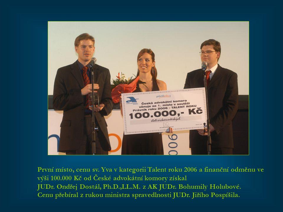 První místo, cenu sv. Yva v kategorii Talent roku 2006 a finanční odměnu ve výši 100.000 Kč od České advokátní komory získal