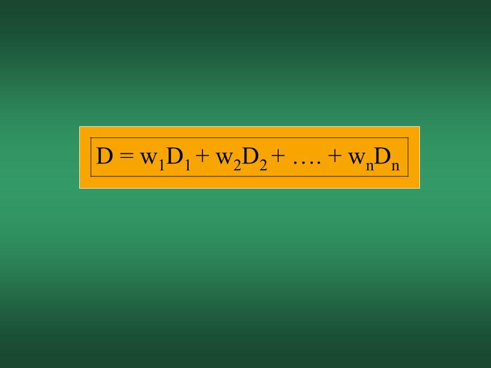 D = w1D1 + w2D2 + …. + wnDn