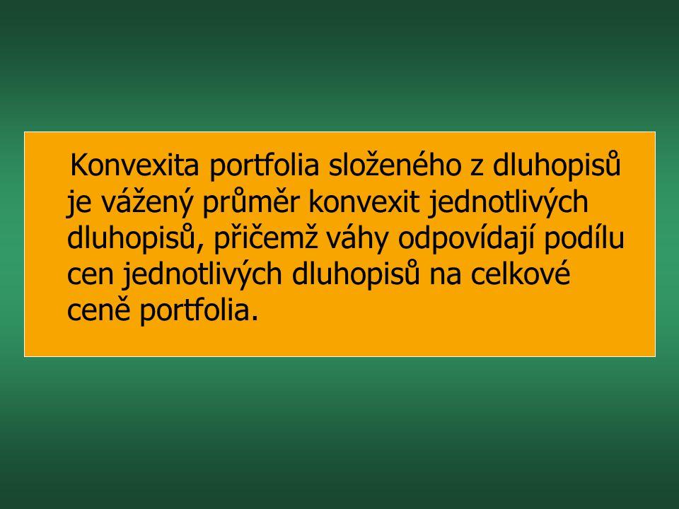 Konvexita portfolia složeného z dluhopisů je vážený průměr konvexit jednotlivých dluhopisů, přičemž váhy odpovídají podílu cen jednotlivých dluhopisů na celkové ceně portfolia.