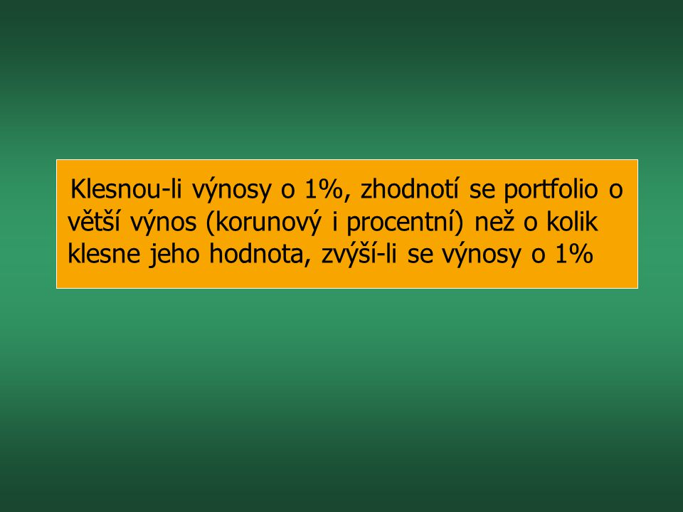 Klesnou-li výnosy o 1%, zhodnotí se portfolio o větší výnos (korunový i procentní) než o kolik klesne jeho hodnota, zvýší-li se výnosy o 1%