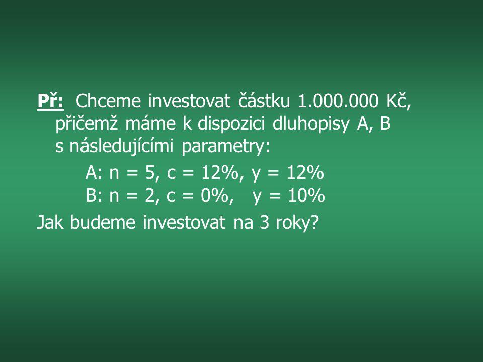Př: Chceme investovat částku 1. 000