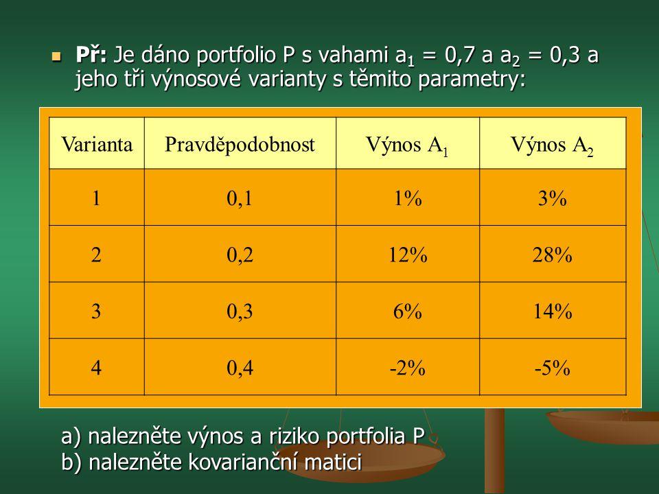 Př: Je dáno portfolio P s vahami a1 = 0,7 a a2 = 0,3 a jeho tři výnosové varianty s těmito parametry: