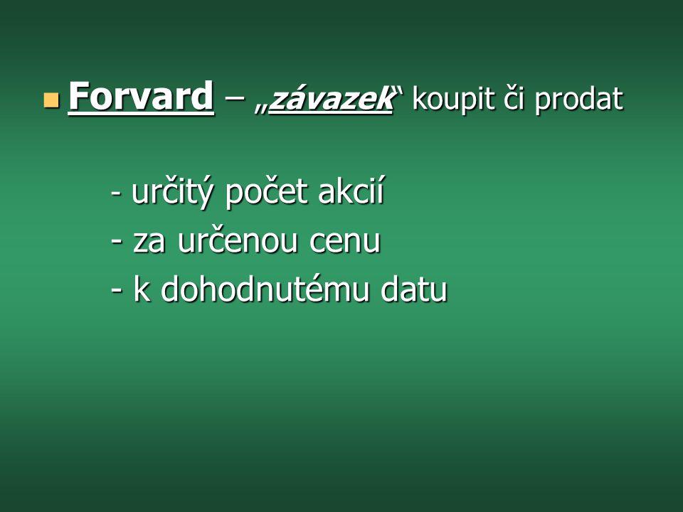 """Forvard – """"závazek koupit či prodat"""