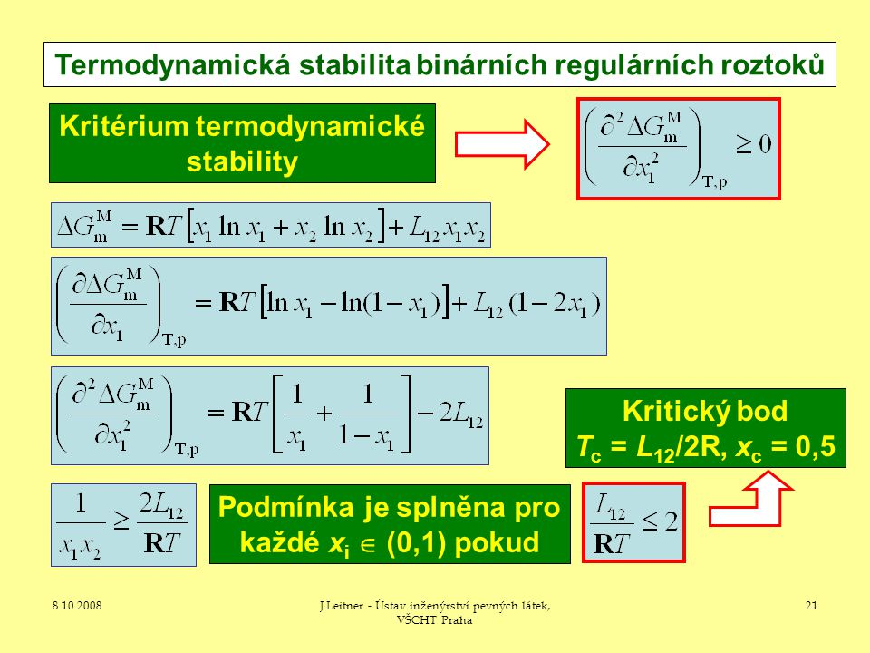 Termodynamická stabilita binárních regulárních roztoků