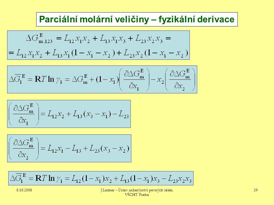 Parciální molární veličiny – fyzikální derivace