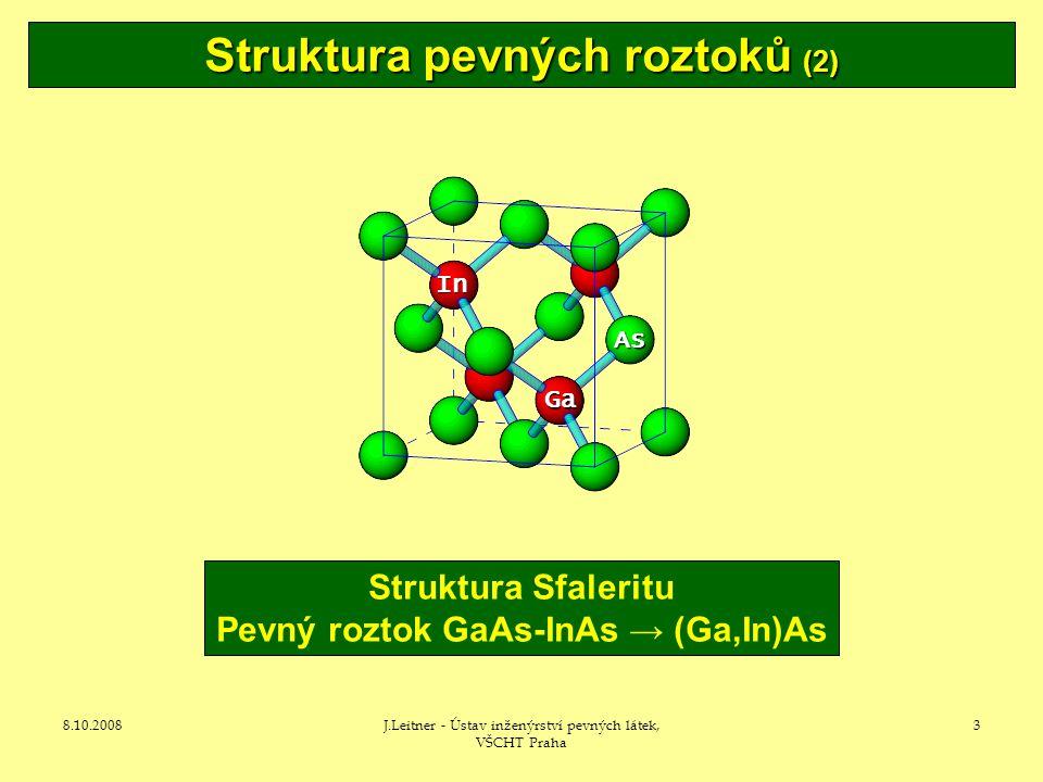 Struktura pevných roztoků (2) Pevný roztok GaAs-InAs → (Ga,In)As