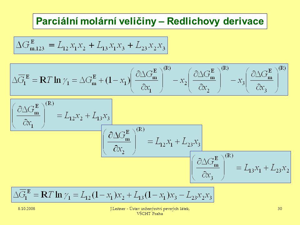 Parciální molární veličiny – Redlichovy derivace