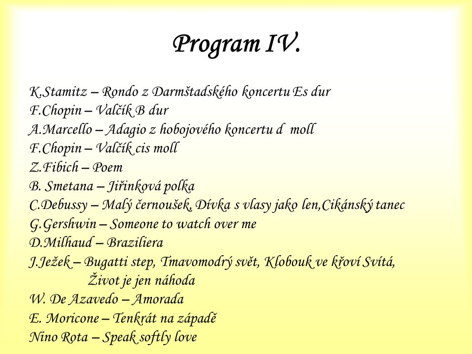 Program IV. K.Stamitz – Rondo z Darmštadského koncertu Es dur