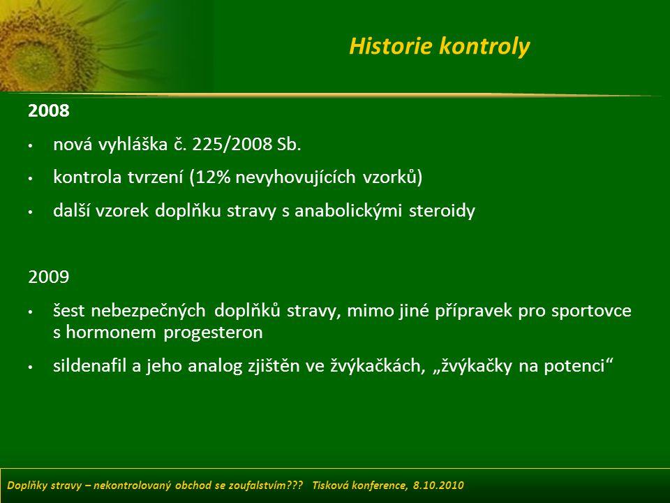 Historie kontroly 2008 nová vyhláška č. 225/2008 Sb.