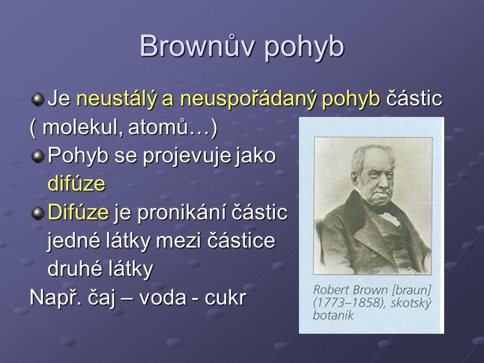 Brownův pohyb Je neustálý a neuspořádaný pohyb částic