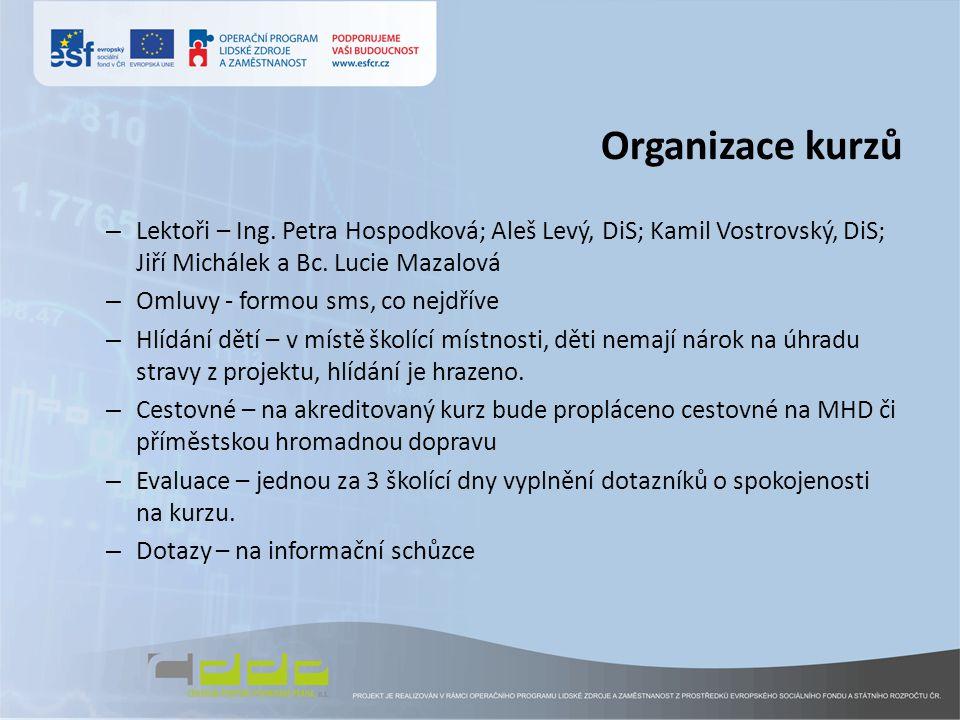 Organizace kurzů Lektoři – Ing. Petra Hospodková; Aleš Levý, DiS; Kamil Vostrovský, DiS; Jiří Michálek a Bc. Lucie Mazalová.