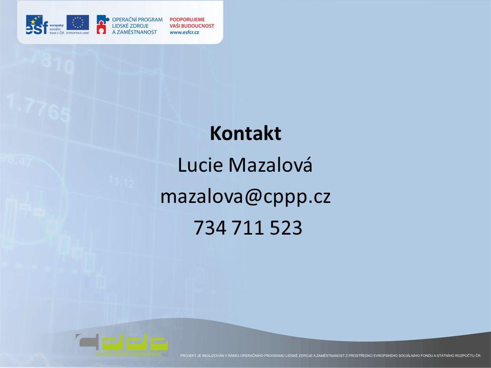 Kontakt Lucie Mazalová mazalova@cppp.cz 734 711 523