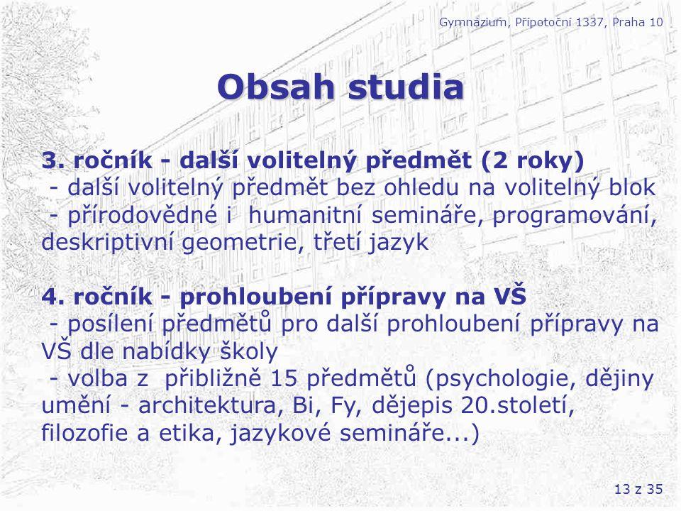 Obsah studia 3. ročník - další volitelný předmět (2 roky)