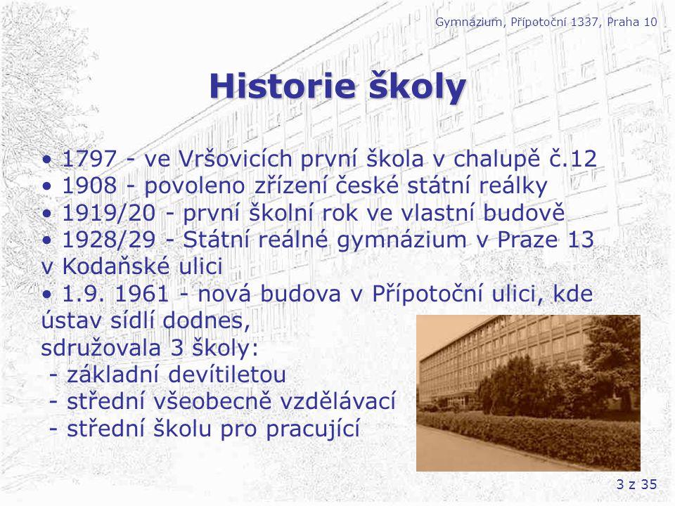 Historie školy • 1797 - ve Vršovicích první škola v chalupě č.12