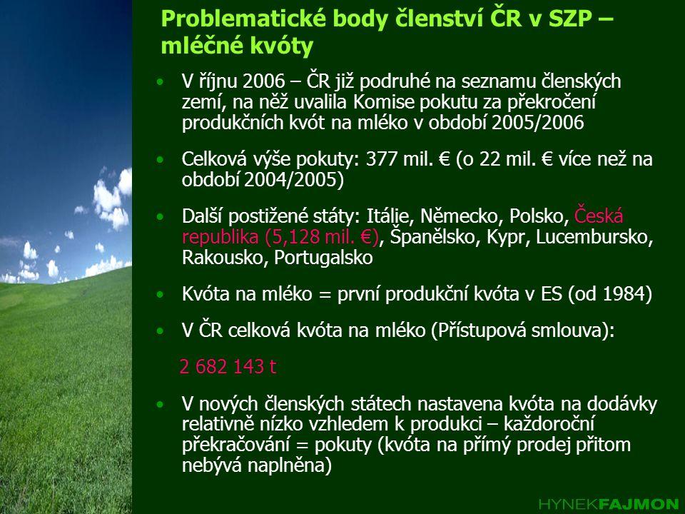 Problematické body členství ČR v SZP – mléčné kvóty