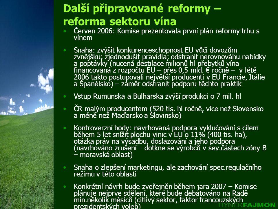 Další připravované reformy – reforma sektoru vína