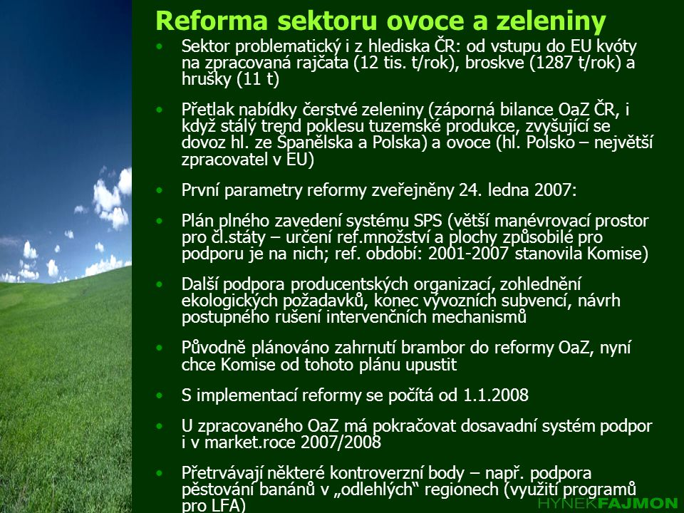 Reforma sektoru ovoce a zeleniny