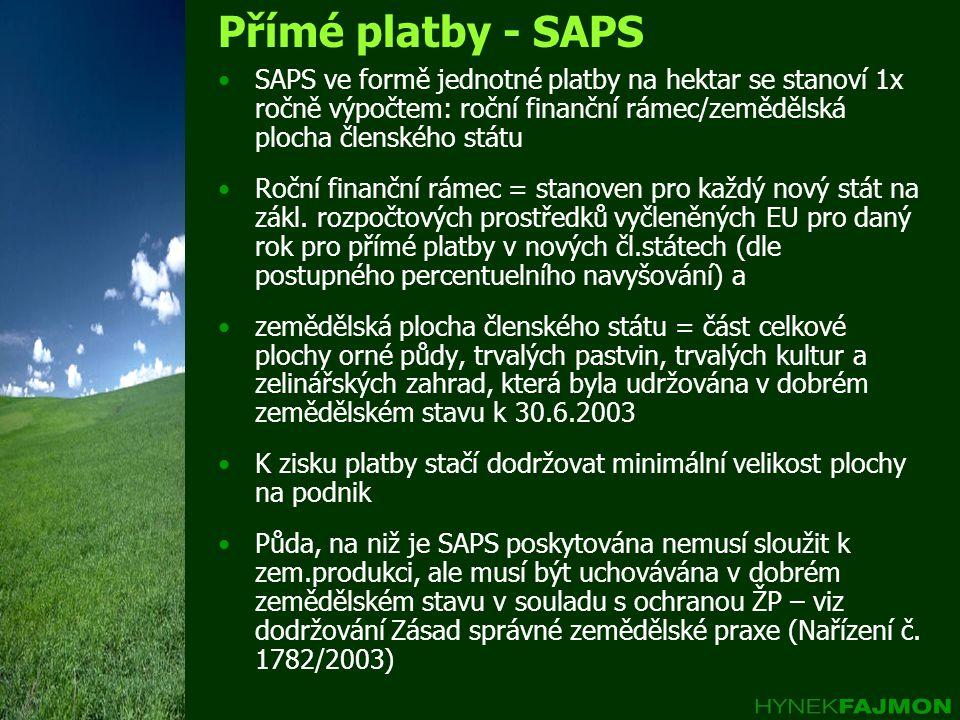 Přímé platby - SAPS SAPS ve formě jednotné platby na hektar se stanoví 1x ročně výpočtem: roční finanční rámec/zemědělská plocha členského státu.