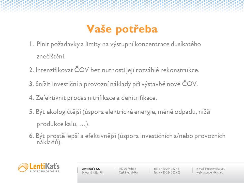 Vaše potřeba Plnit požadavky a limity na výstupní koncentrace dusíkatého znečištění. 2. Intenzifikovat ČOV bez nutnosti její rozsáhlé rekonstrukce.
