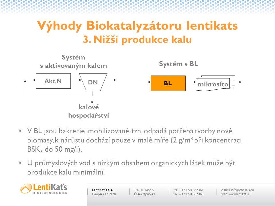 Výhody Biokatalyzátoru lentikats 3. Nižší produkce kalu