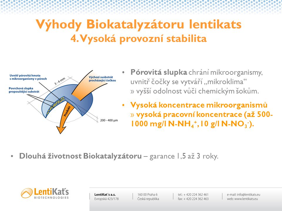 Výhody Biokatalyzátoru lentikats 4. Vysoká provozní stabilita