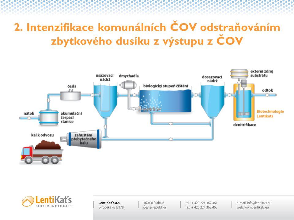 2. Intenzifikace komunálních ČOV odstraňováním zbytkového dusíku z výstupu z ČOV