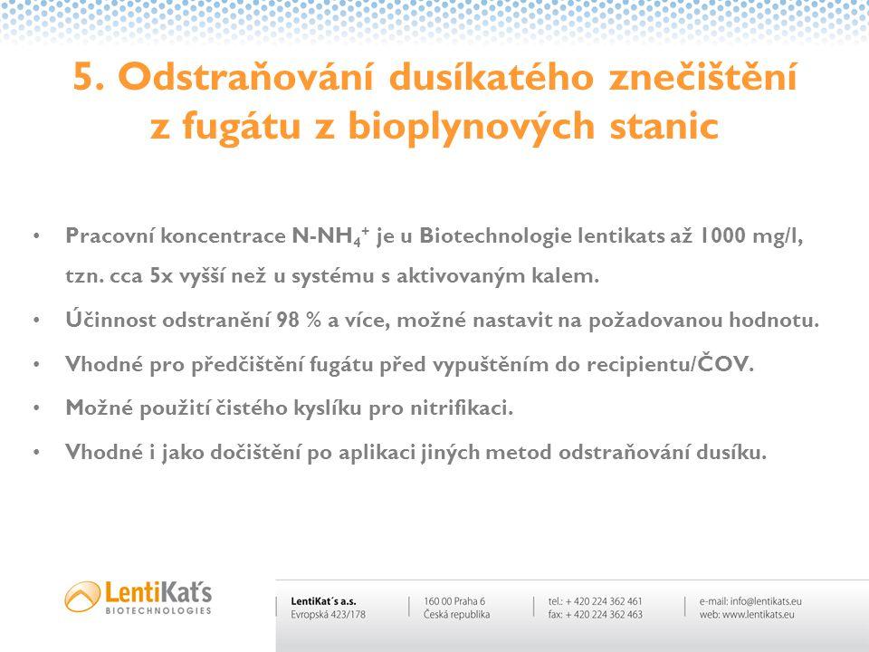 5. Odstraňování dusíkatého znečištění z fugátu z bioplynových stanic