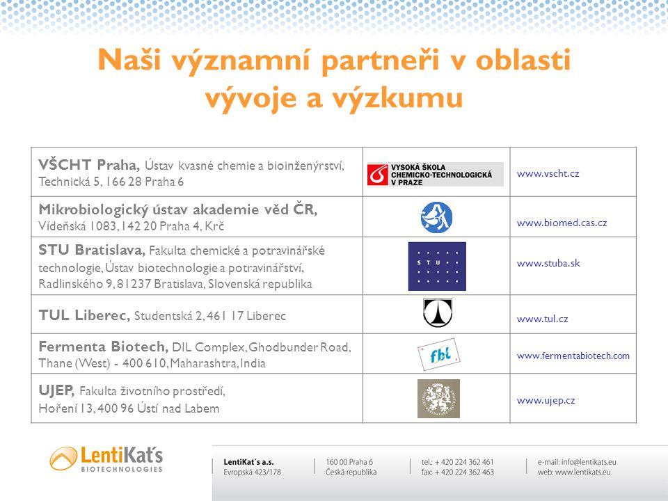 Naši významní partneři v oblasti vývoje a výzkumu